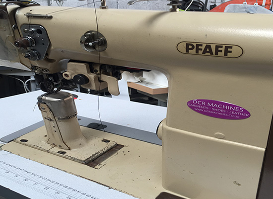 Photo of an PFAFF 491-726 single needle post bed with leather Trimmer Industrial Sewing Machines